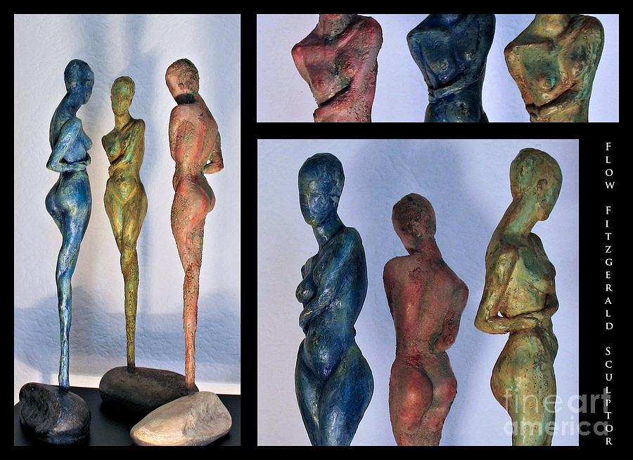 Nude Sculptures Sculpture - Les Filles De Lasse 1 Triptic Collage by Flow Fitzgerald