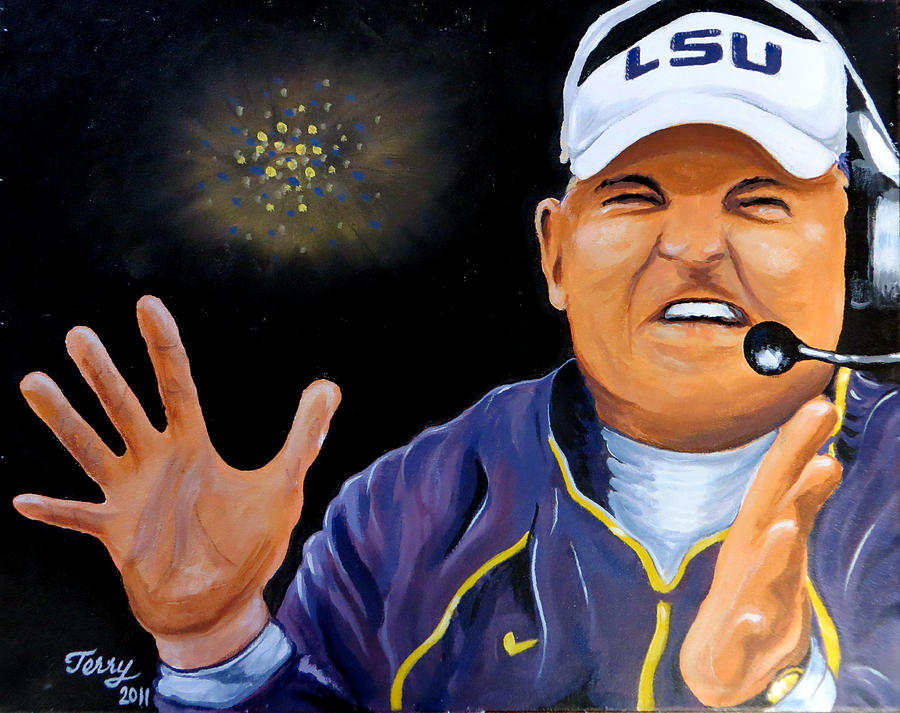 Lsu Painting - Les Miles Clapping by Terry J Marks Sr