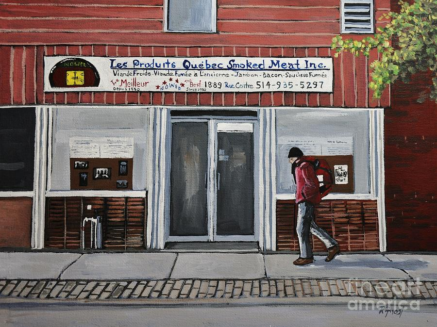 Montreal Scenes Painting - Les Produits Quebec Smoked Meat Inc by Reb Frost