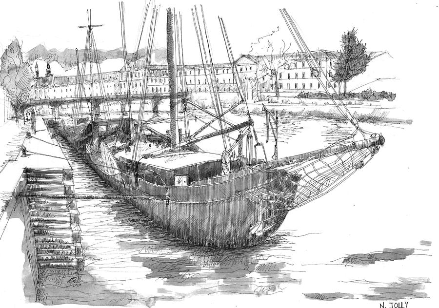 Boat Drawing - Les Quais De Paris - Black Ink by Nicolas Jolly