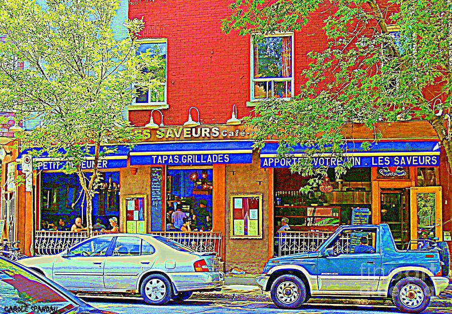 Street Scenes Painting - Les Saveurs Tapas Grillades Apportez Votre Vin Montreal Cafe Art Scene By Carole Spandau by Carole Spandau