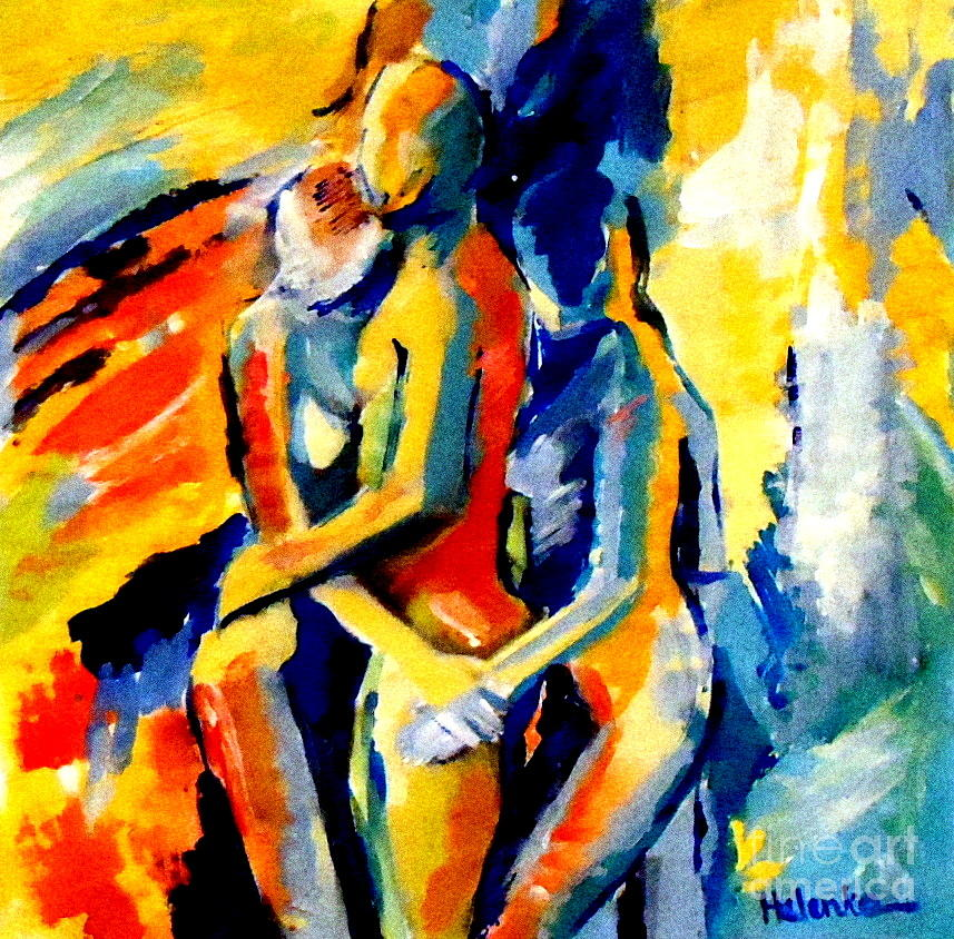 Abstract Nudes Painting - Les Silhouettes by Helena Wierzbicki