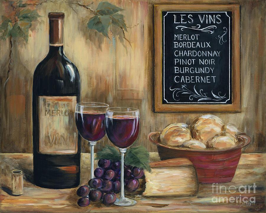 Wine Painting - Les Vins by Marilyn Dunlap