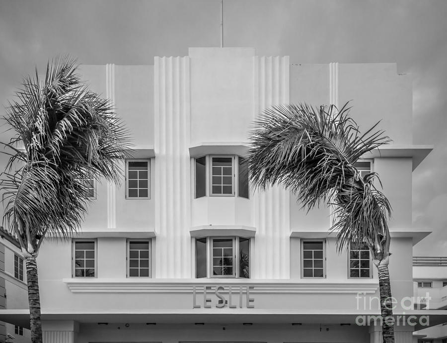 1920s Photograph - Leslie Hotel South Beach Miami Art Deco Detail 3 - Black And White by Ian Monk