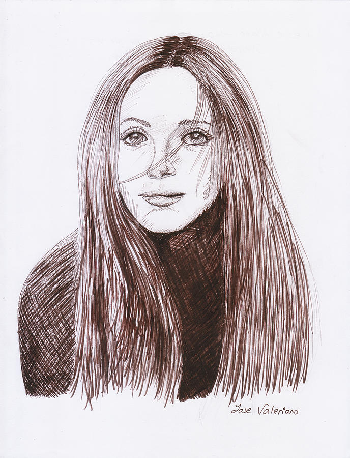 Ink Drawing - Leslie Mann by M Valeriano