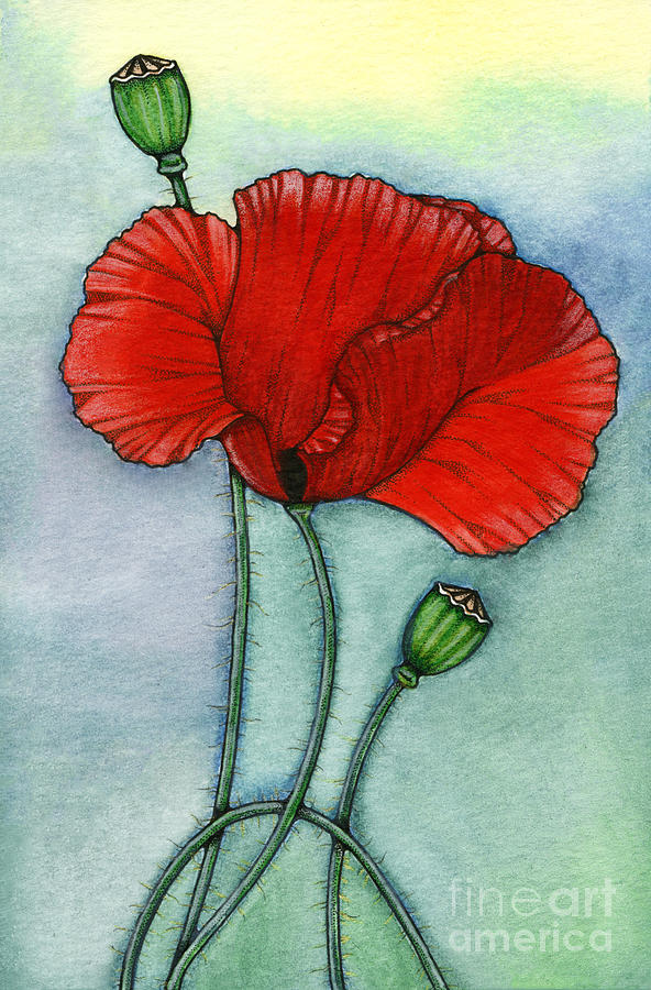 Poppy Painting - Lest We Forget by Nora Blansett