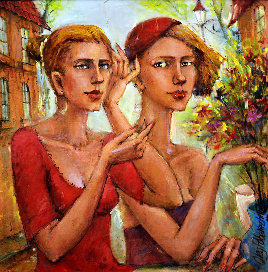 Girls Painting - Let Love Flow by Oleg  Poberezhnyi
