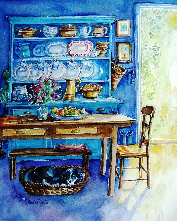 Kirchen Dresser Painting - Let Sleeping Dogs Lie by Trudi Doyle