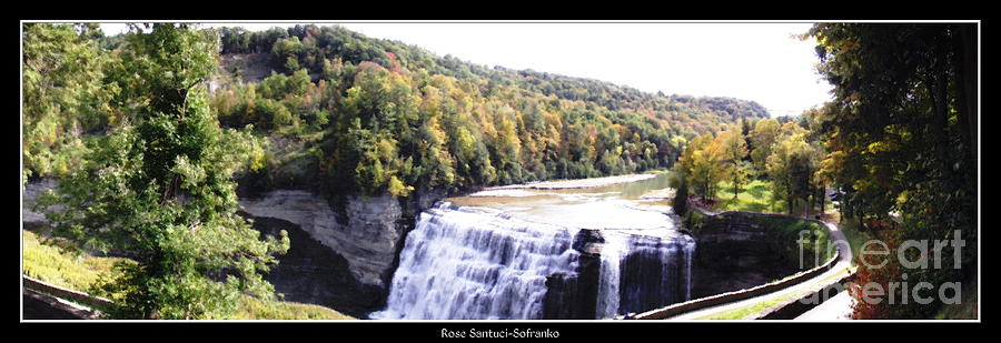 Letchworth State Park Photograph - Letchworth State Park Middle Falls Panorama by Rose Santuci-Sofranko