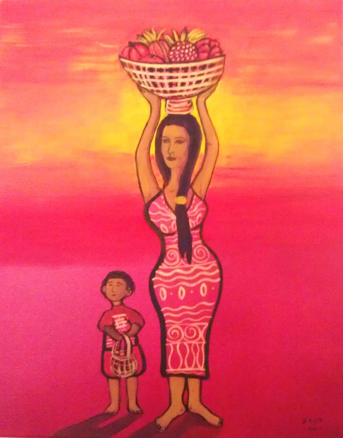 Semi Abstract Painting - Lets Feed The Hungry by Deyanira Harris