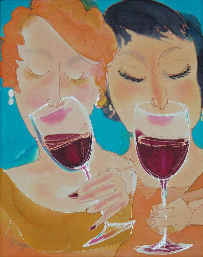Wine Painting - Lets Get Together by Jill Targer