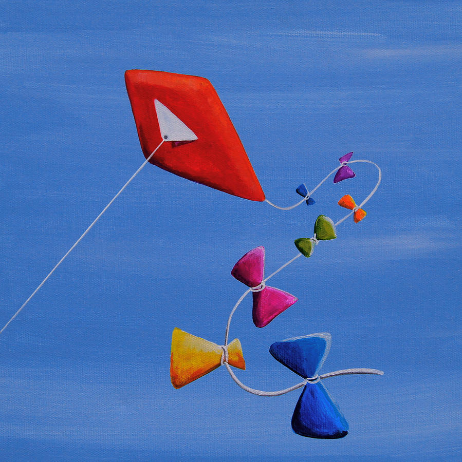 Sky Painting - Lets Go Fly A Kite by Cindy Thornton
