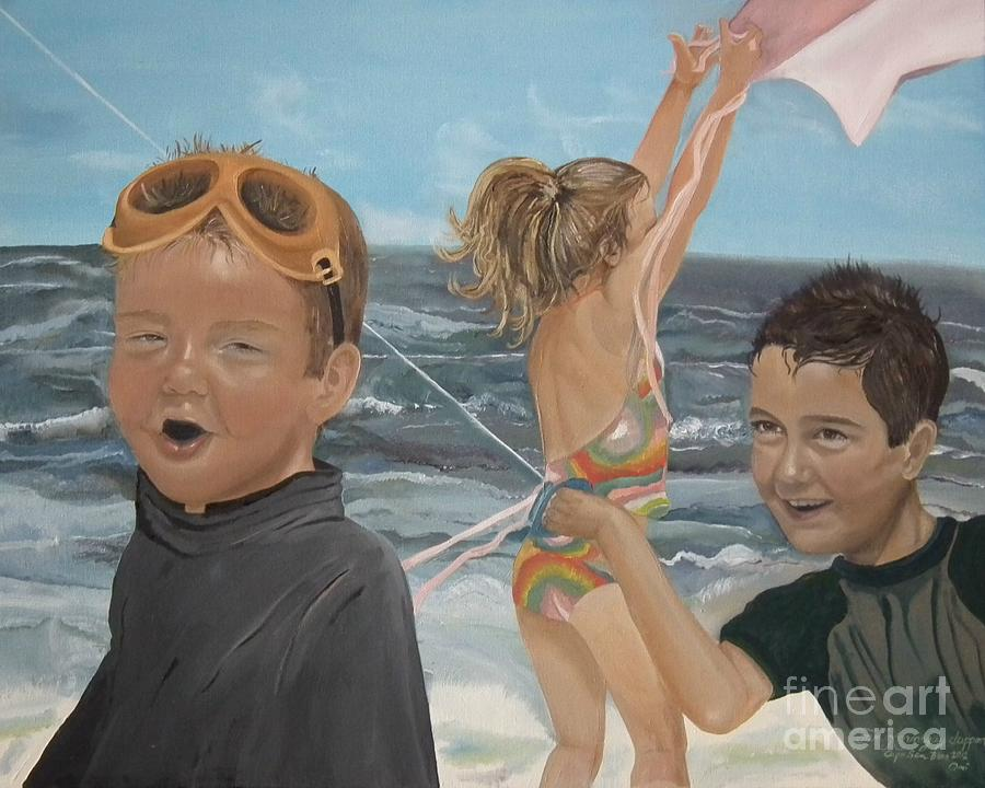 Portrait Painting - Beach - Children Playing - Kite by Jan Dappen