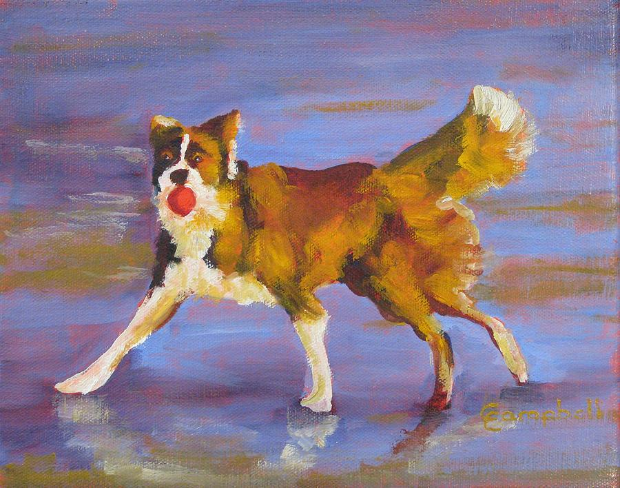 Animals Painting - Lets Play Ball by Cecelia Campbell