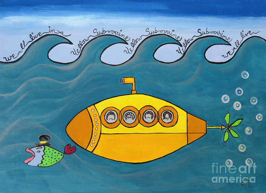 The Beatles Painting - Lets Sing The Chorus Now - the Beatles Yellow Submarine by Ella Kaye Dickey
