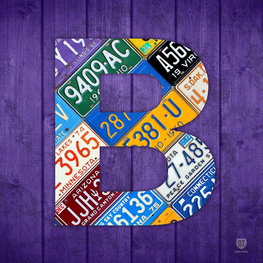 Letter Mixed Media - Letter B Alphabet Vintage License Plate Art by Design Turnpike