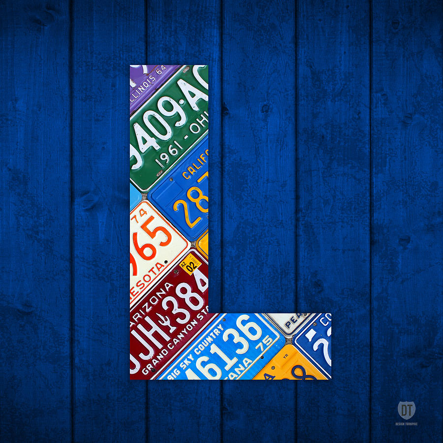 Letter L Alphabet Vintage License Plate Art Mixed Media by Design
