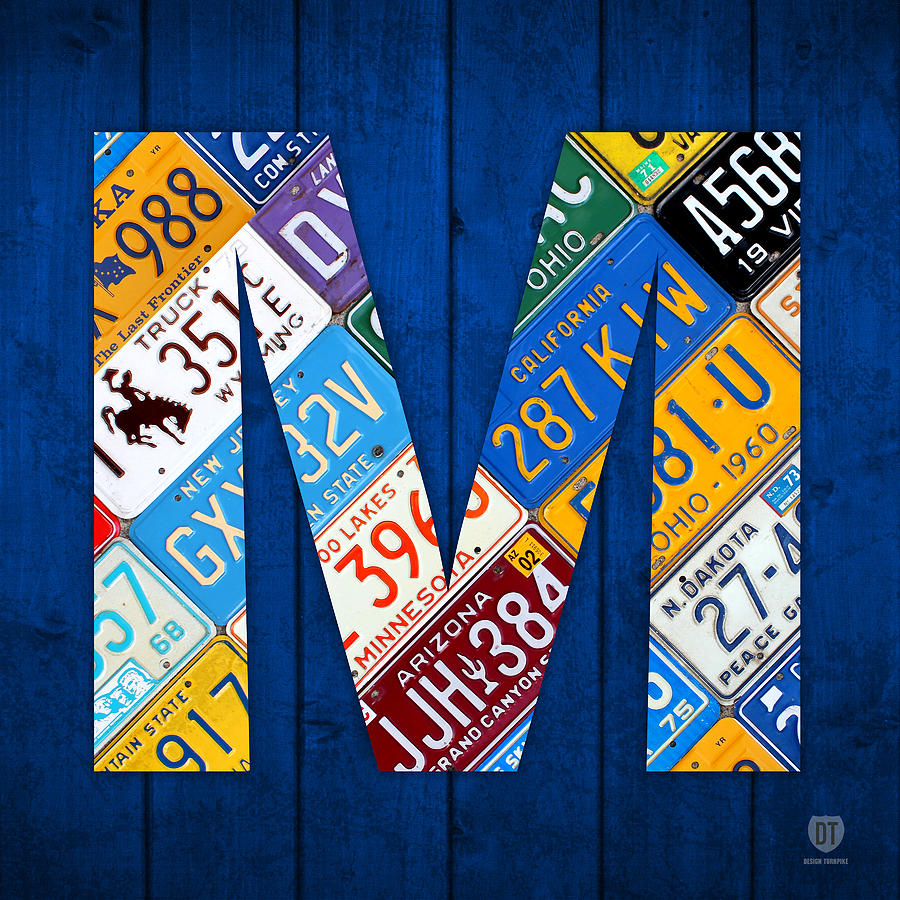 Letter M Alphabet Vintage License Plate Art Mixed Media By Design