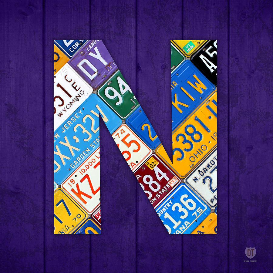 letter n alphabet vintage license plate art mixed media by design