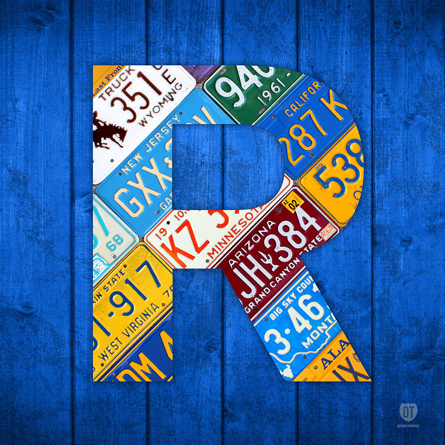 Letter R Alphabet Vintage License Plate Art