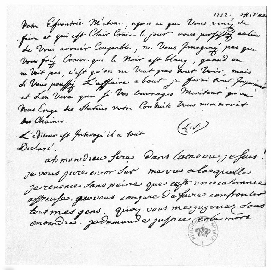 1752 Painting - Letter To Voltaire From King Frederick by Granger
