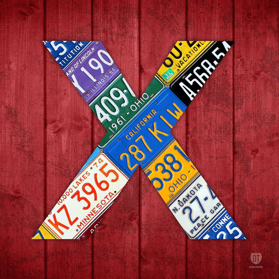 Letter Mixed Media - Letter X Alphabet Vintage License Plate Art by Design Turnpike
