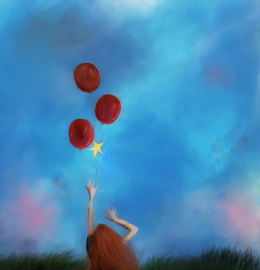Balloon Digital Art - Letting Go by Hazel Billingsley