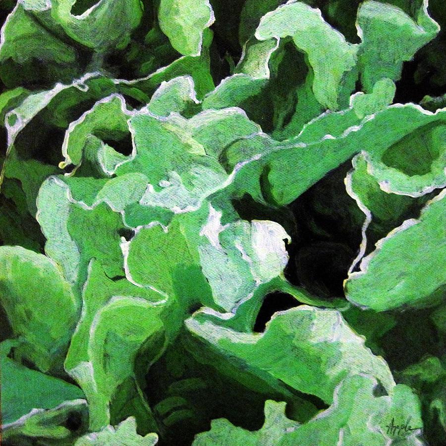 Spring Painting - Lettuce Go Green - Food Art by Linda Apple