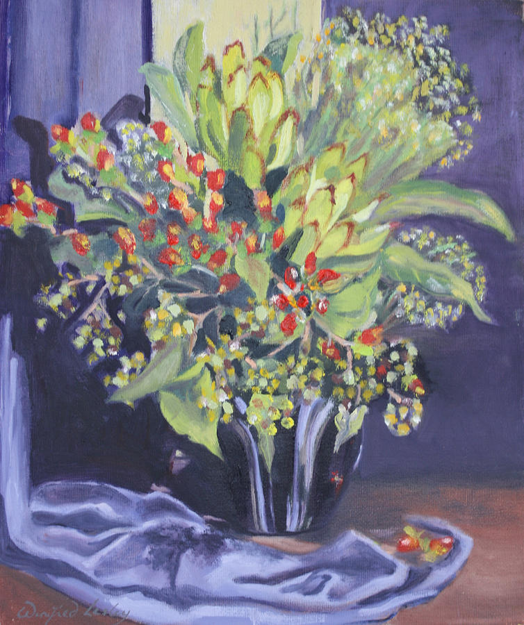 Leucodendrons In Retro Vase Painting by Winifred Lesley