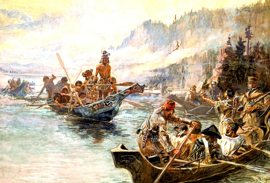 Lewis And Clark On The Lower Columbia Digital Art - Lewis And Clark On The Lower Columbia  by Charles Russell