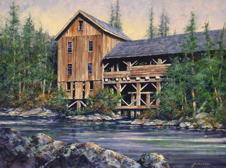 Grist Mills Painting - Lewisville Grist Mill Afternoon by Jim Gola
