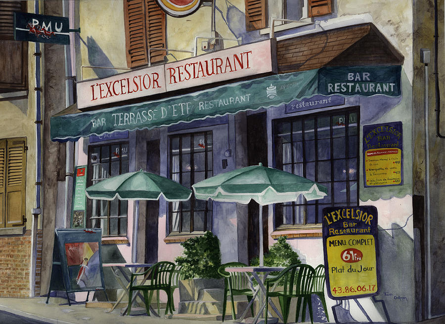 Paris Cafe Painting Painting - Lexcelsior Cafe by Terri  Meyer