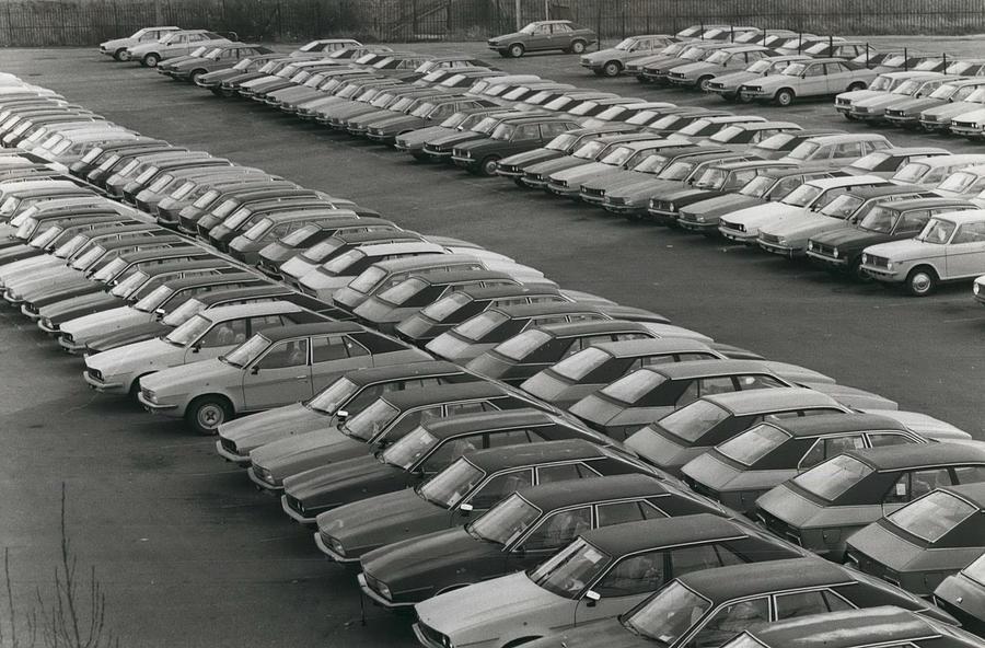 Retro Photograph - Leyland Cars Stockpiled As Sales Slump by Retro Images Archive
