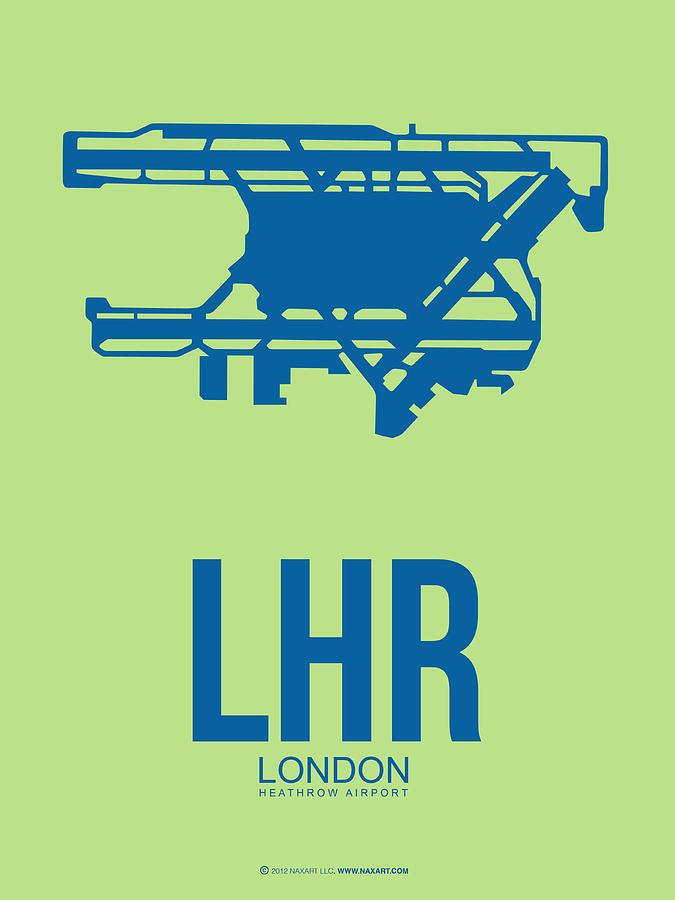 London Digital Art - Lhr London Airport Poster 2 by Naxart Studio