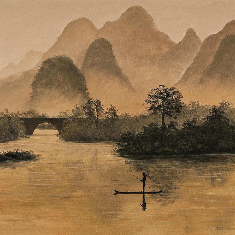 River Painting - Li River China by Darice Machel McGuire