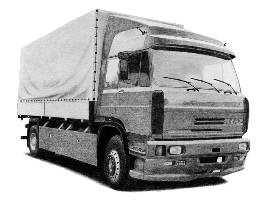 Truck Drawing - Liaz 300 by Milan Surkala
