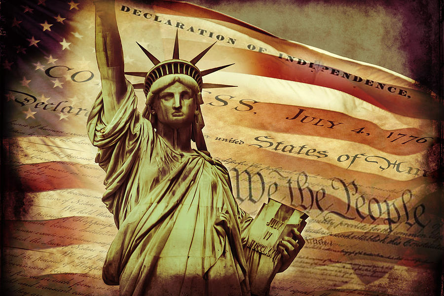 Statue Of Liberty Digital Art - Declaration Of Independence by Az Jackson