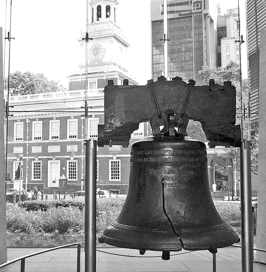Liberty Bell and Independence Hall BW by Barbara McDevitt