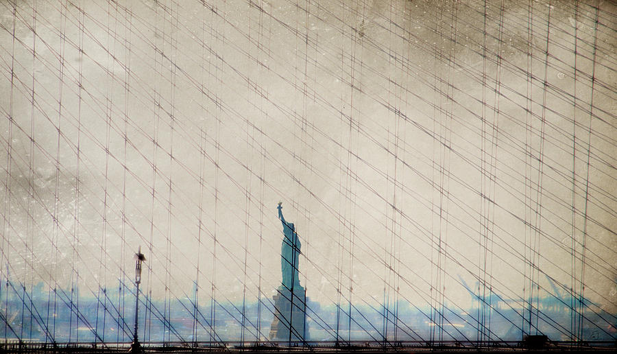 New York City Photograph - Liberty Between The Lines by Emily Stauring