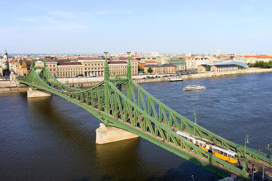 Budapest Photograph - Liberty Bridge And Budapest Skyline by Artur Bogacki