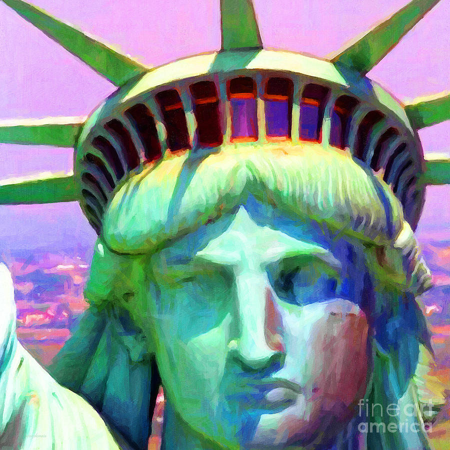 Patriotic Photograph - Liberty Head Painterly 20130618 Square by Wingsdomain Art and Photography