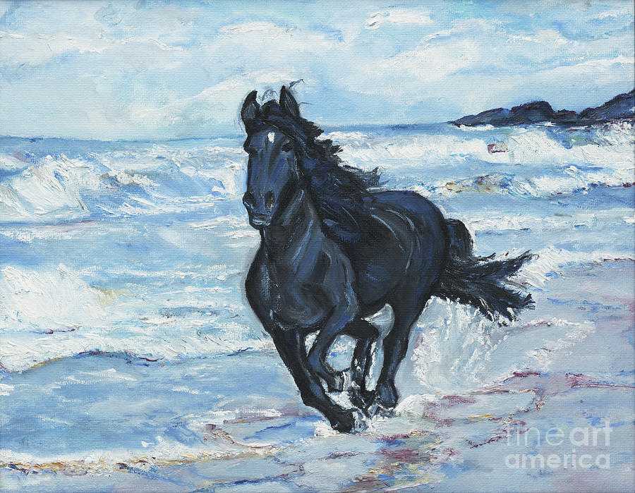 Horse Painting - Liberty by Helena Bebirian