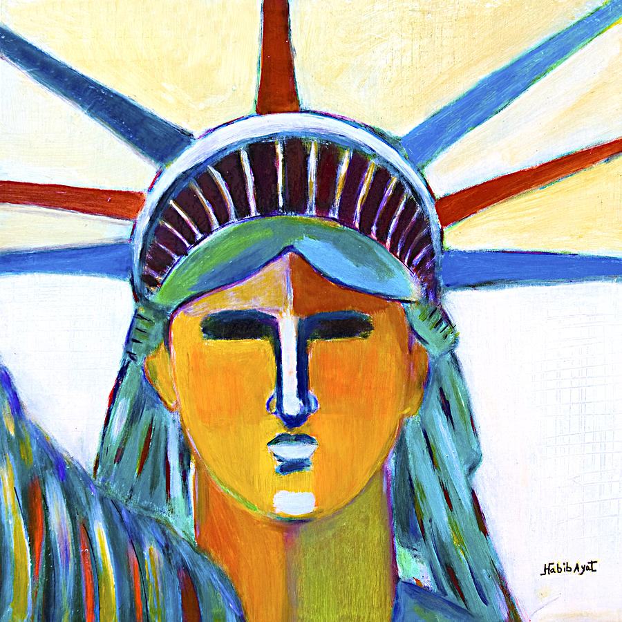 Nyc Painting - Liberty In Colors by Habib Ayat