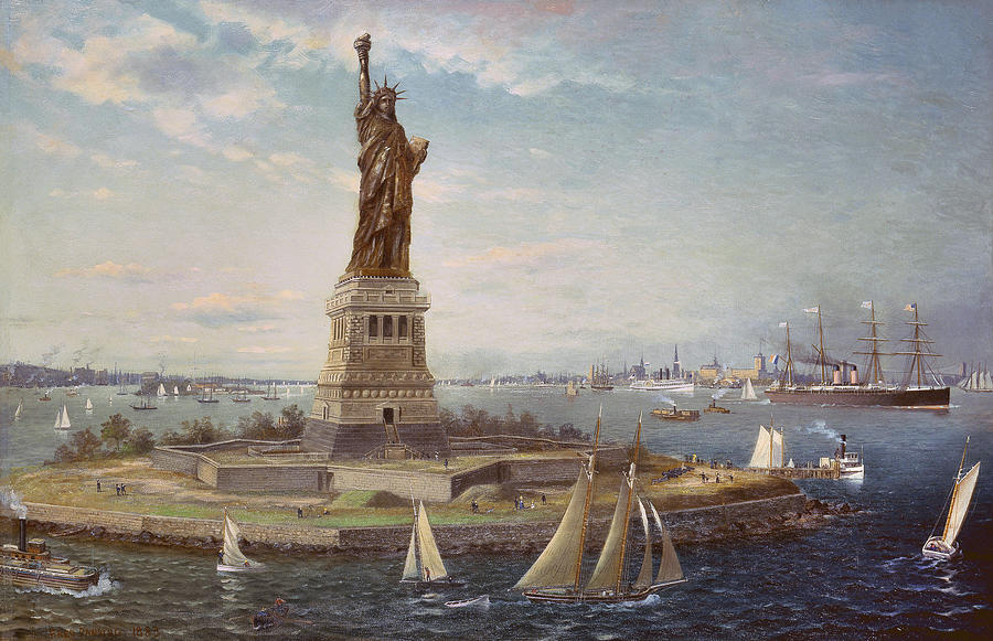 Boat Painting - Liberty Island New York Harbor by Fred Pansing