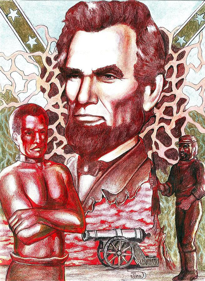 Abraham Lincoln Drawing - Liberty Red by Jamie Jonas