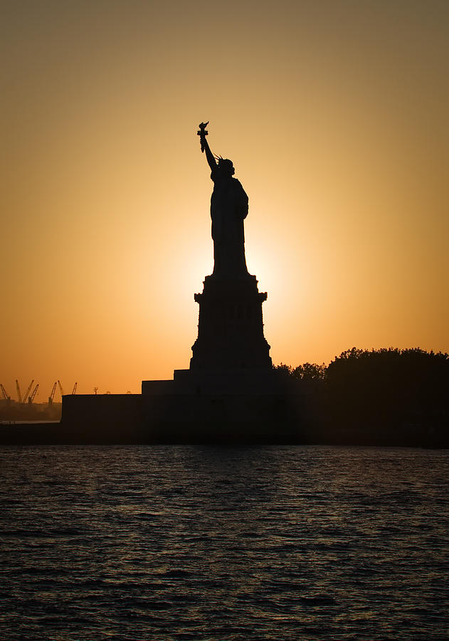 Statue Of Liberty Photograph - Liberty Sunset by Dave Bowman