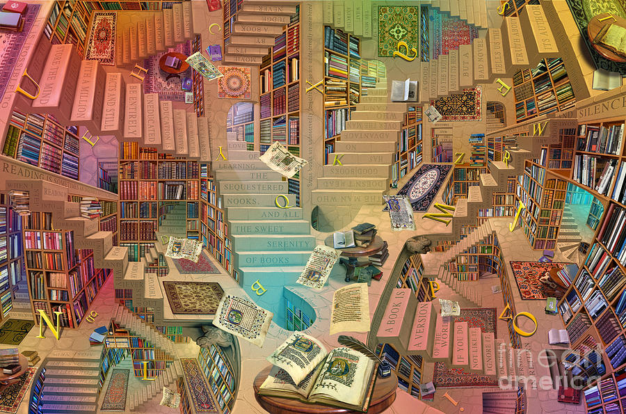 Surreal Digital Art - Library Of The Mind Art by Garry Walton