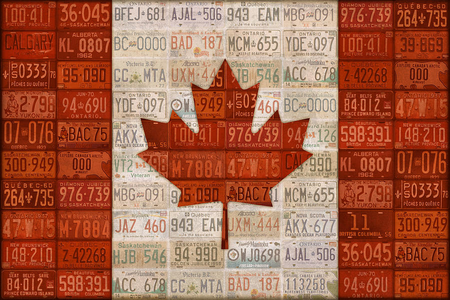 License Plate Mixed Media - License Plate Art Flag Of Canada by Design Turnpike