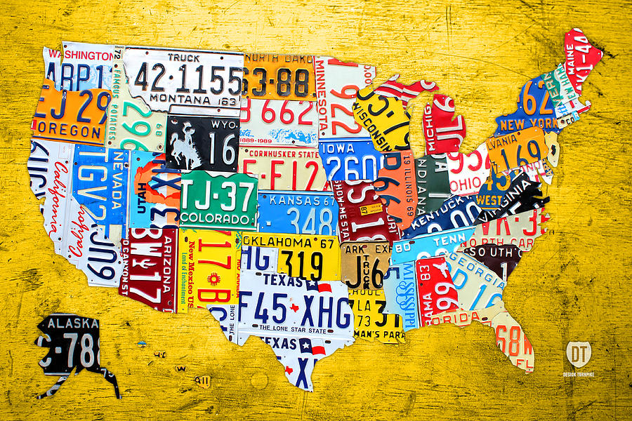 License Plate Map Mixed Media - License Plate Art Map Of The United States On Yellow Board by Design Turnpike