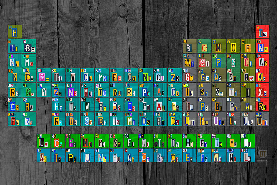 License Mixed Media - License Plate Art Recycled Periodic Table Of The Elements By Design Turnpike by Design Turnpike